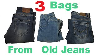 3 Easy and Beautiful Jeans Hand Bag with Hand Embroidery | Old Cloth Reuse Ideas