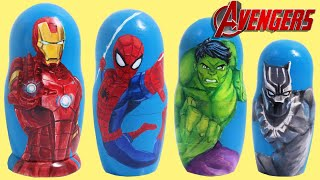 Marvel AVENGERS Nesting Dolls Stacking Cups with Ironman, Incredible Hulk & Black Panther