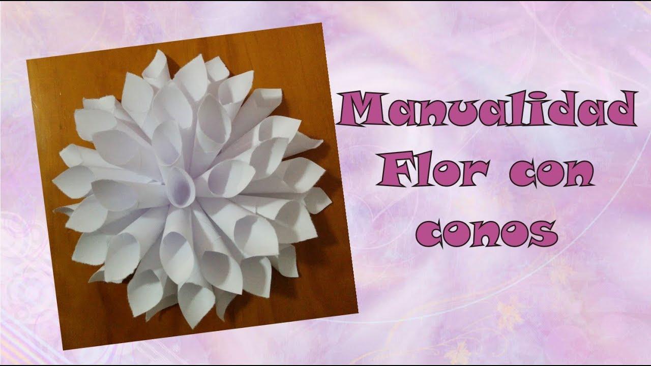 Manualidad flor de conos de papel adorna tu cuarto o - Hacer conos papel ...