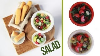 Salads - How to make a miniature salad - Tomatoe - Cucumber - Red Onion - Breadsticks - Polymer Clay Thumbnail