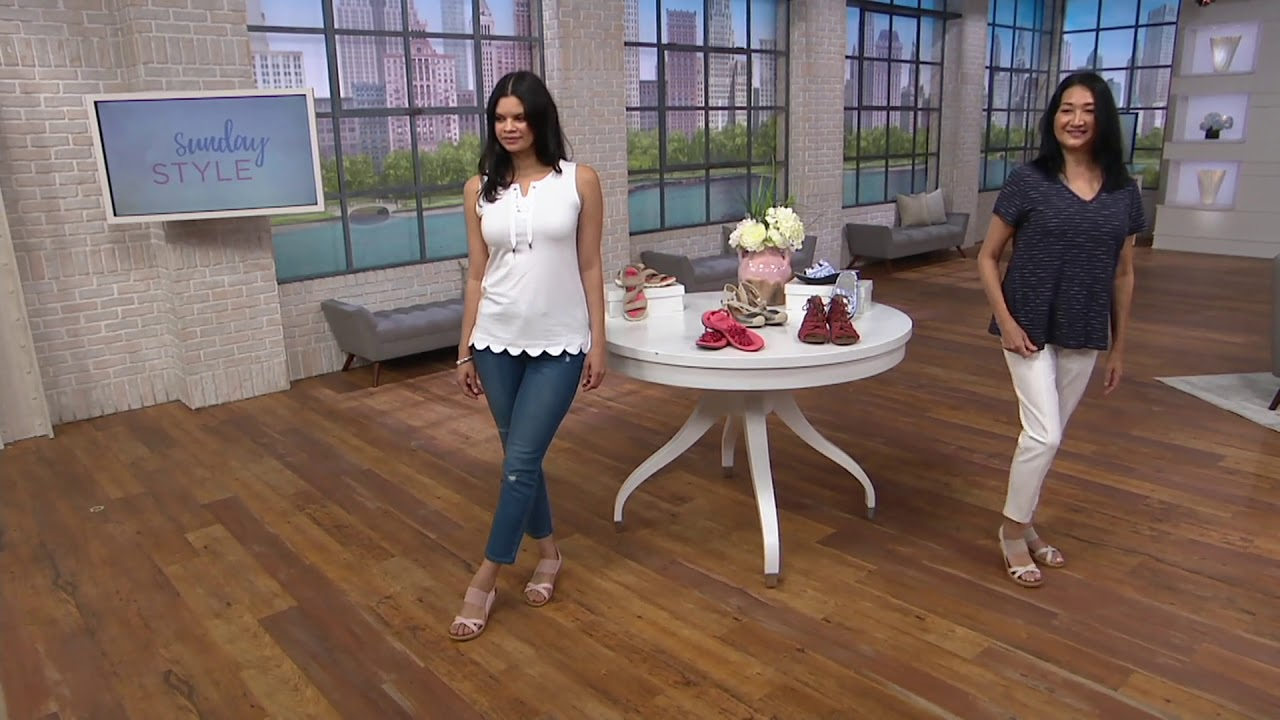 9beacafda6c1 Skechers Sling Back Stretch Wedges - Beverlee High Tea on QVC - YouTube