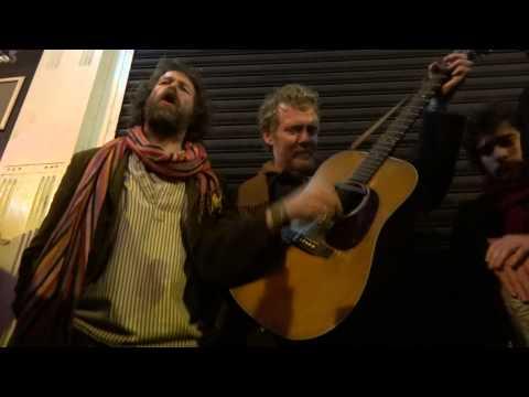 Glen Hansard & Liam O'Maonlai Busking   Grafton St Dublin   Christmas Eve 2012