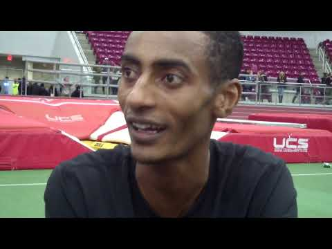 Yomif Kejelcha after breaking mile world record with 3:47.01 at Boston University