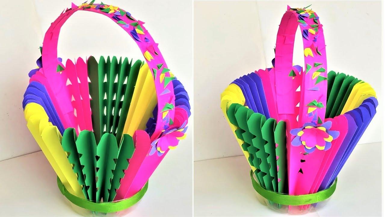 Diy Paper Basket Using Plastic Bottle Paper Craft Plastic Bottle