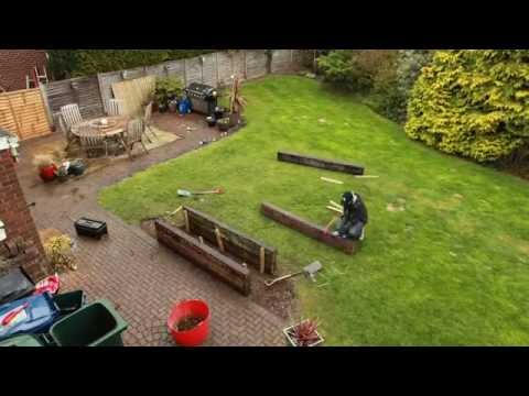 Time-lapse: Building a raised flower bed from reclaimed railway sleepers