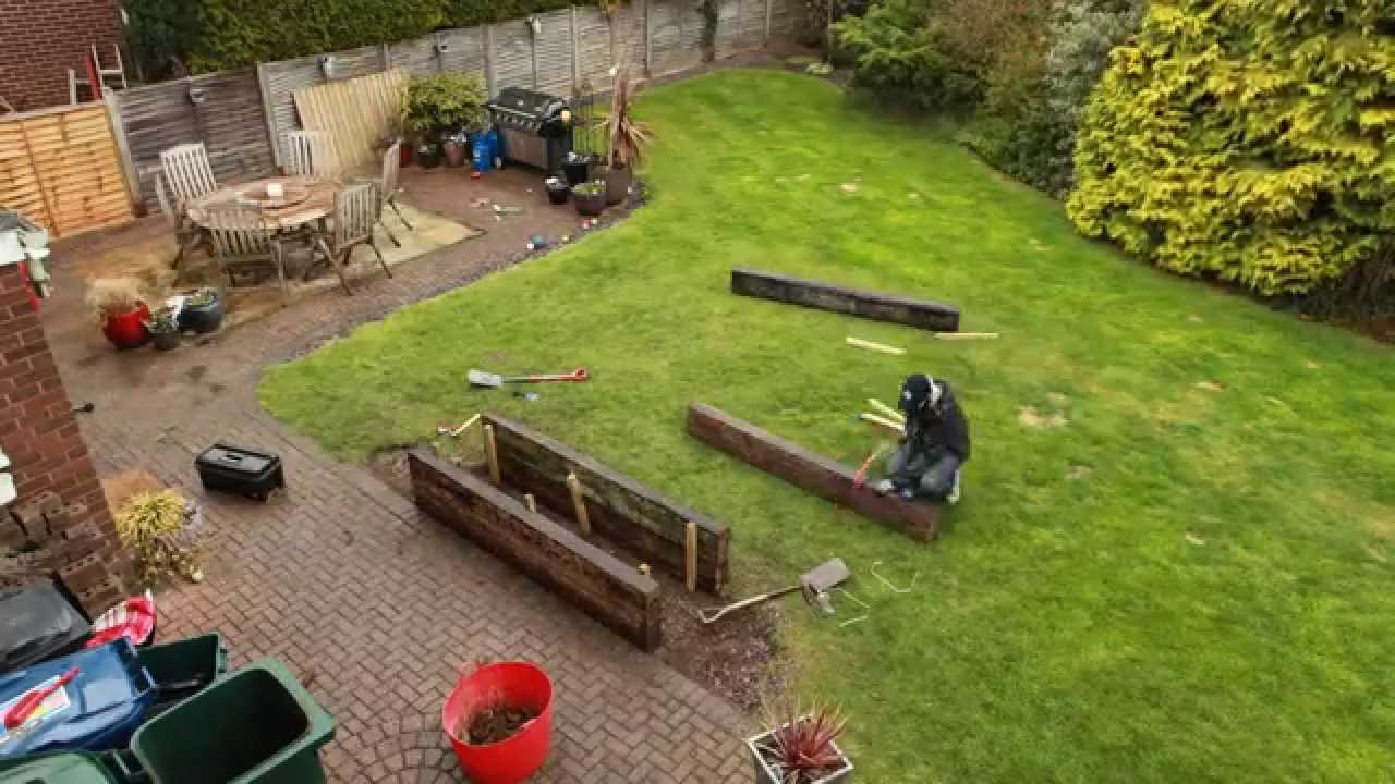 Using Railway Sleepers For Raised Vegetable Beds Time Lapse Building A Raised Flower Bed From Reclaimed Railway Sleepers