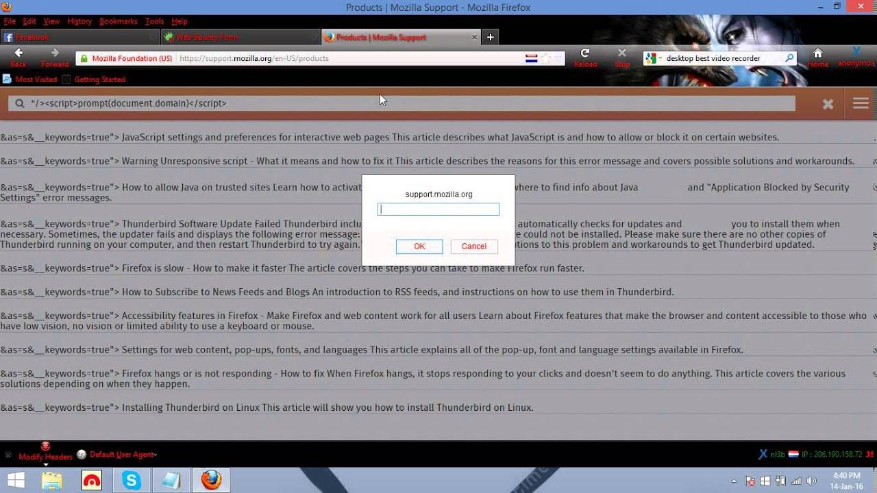 Mozilla Firefox Website Xss