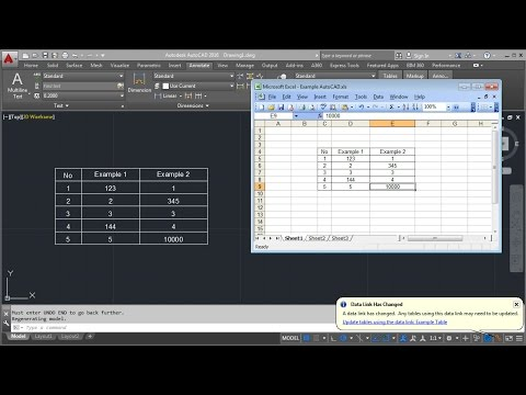 AutoCAD Excel Data Link Table