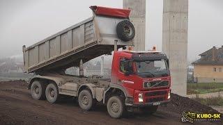 Volvo FM 440 8x6 dump truck - unload quarry stone