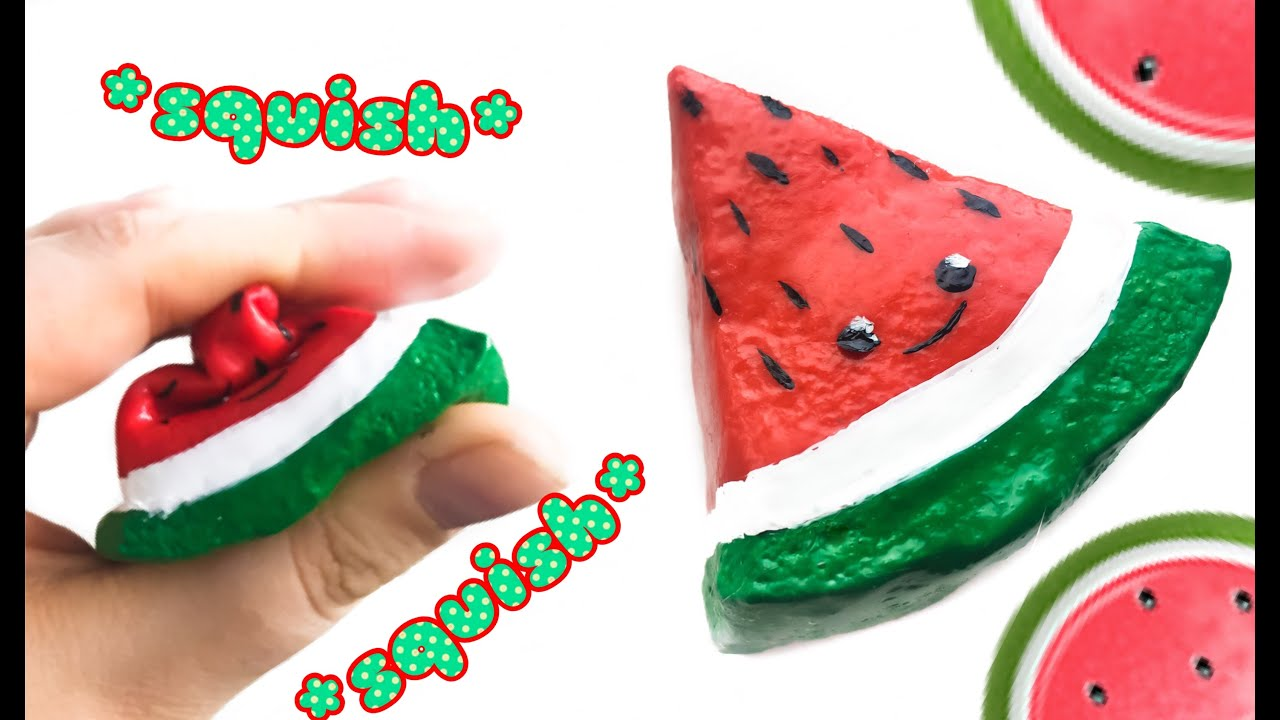 Squishy Watermelon : DIY watermelon squishy! Squishie Melon Slice Using Slime Paint! - YouTube