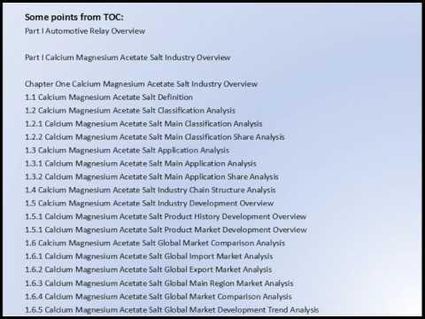 Global Calcium Magnesium Acetate Salt Market Research Report 2017