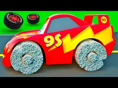 Cars with Ancient Wheels – McQueen Friends change color wrong Wheels, Color Garage stories for Kids