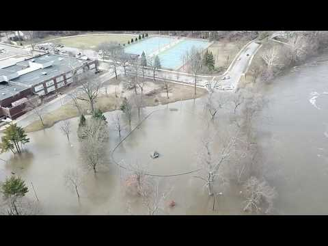 St. Joseph river flood in South Bend Indiana 2/22/18 Dji Mavic HD Aerial footage @ Leeper park