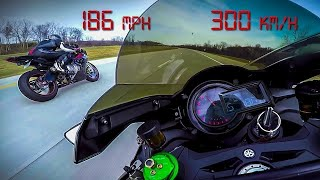 Kawasaki Ninja H2 vs BMW S1000RR - 10 minutes of PURE ADRENALINE Top Speed +200 MPH +330 KM/H thumbnail