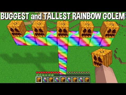 WHAT HAPPENS if SPAWN TALLEST and BIGGEST RAINBOW GOLEM in Minecraft ??? SUPER GOLEM !