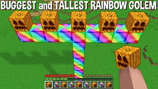 WHAT HAPPENS if SPAWN TALLEST and BIGGEST RAINBOW GOLEM in Minecraft ??? SUPER GOLEM !