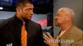 Batista, Christy Hemme and Eric Bischoff backstage a Sports & Extreme video