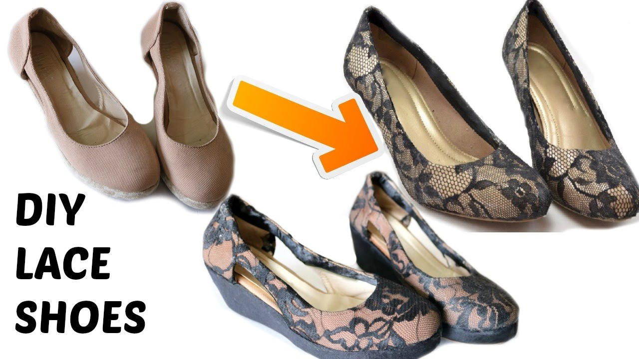DIY Flats Makeover Using Lace And Paint pictures