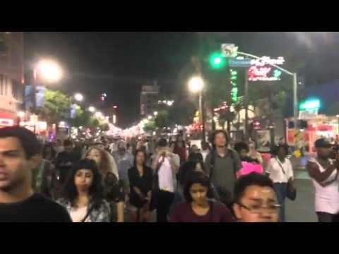 Marchers in streets Hollywood