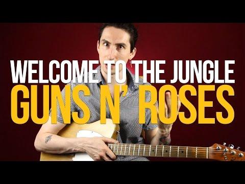 Как играть на гитаре песню Welcome To The Jungle Guns N' Roses - Уроки игры на гитаре Первый Лад