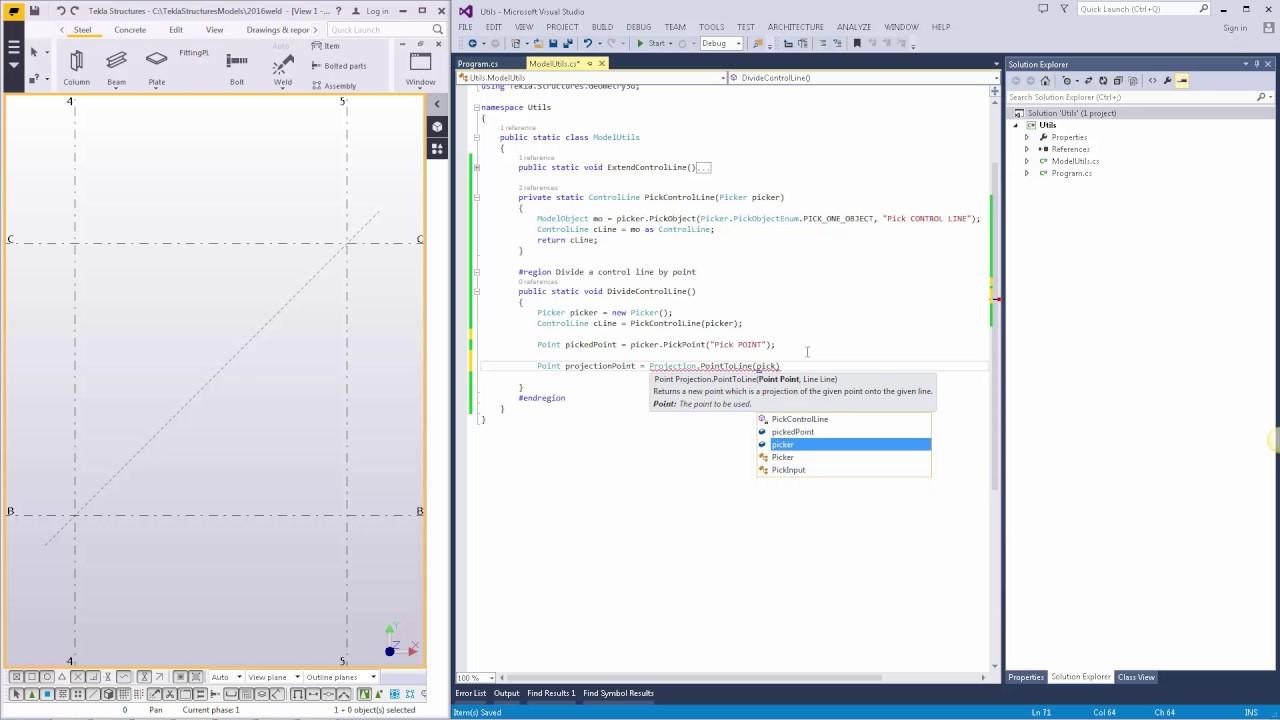 Tekla Open API Tutorial  Creating macro divide a control line