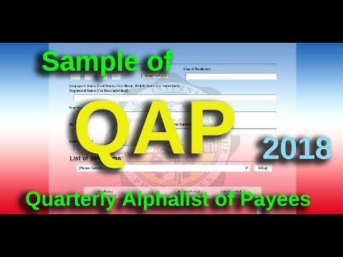 QUARTERLY ALPHALIST of PAYEES 2018 (QAP Sample only)