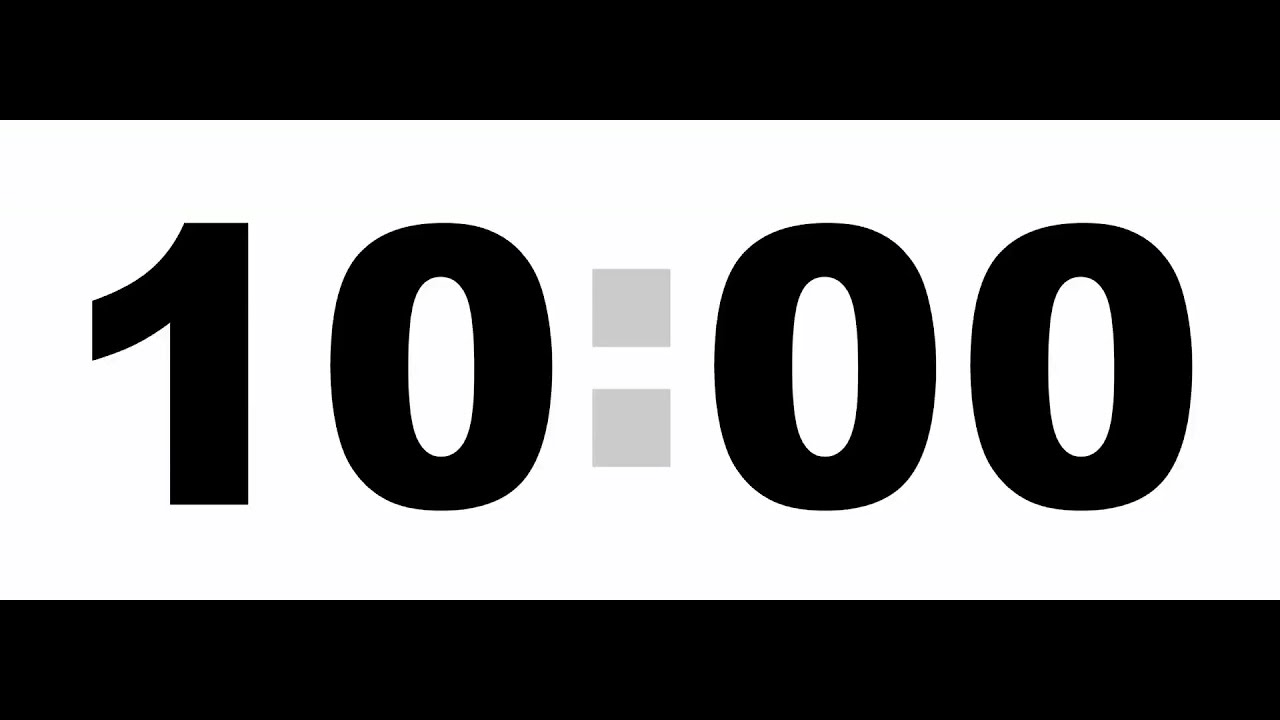 10 Minute Countdown Timer - Black, No Sound, Stock Footage - YouTube