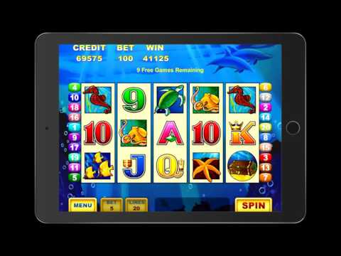 DOLPHIN TREASURE Video Slot Game with a RETRIGGERED FREE SPIN BONUS