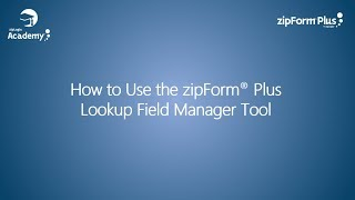 zipForm® Plus Lookup Field Manager