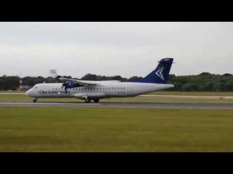 Air Contractors ATR72 EI-SLH departing 23L to Stansted from Manchester Airport at 19:54