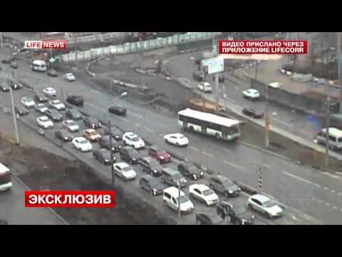 Крупная авария с участием автобуса в Москве попала на видео