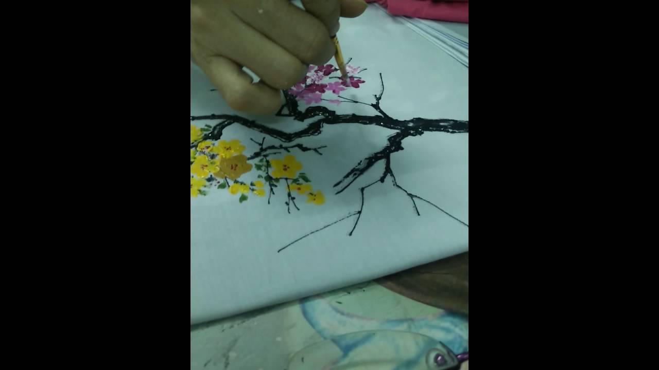 Hướng dẫn vẽ hoa Đào bằng màu acrylic