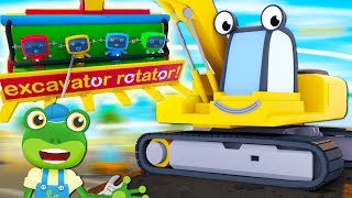 Eric The Excavator's Theme Park Ride | Gecko's Garage | Construction Trucks For Toddlers