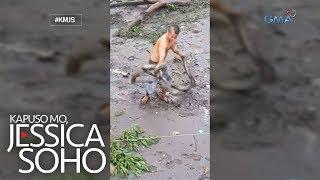 Kapuso Mo, Jessica Soho: Lalaki, hinuli ang dalawang malalaking sawa gamit ang kanyang mga kamay!