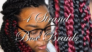 4 strand box braids    natural hair tutorial