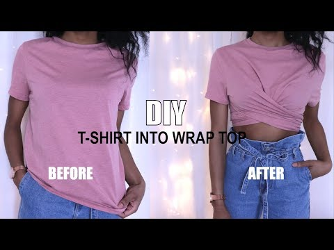 HOW TO TRANSFORM A T-SHIRT INTO WRAP TOP | DIY CLOTHING HACK