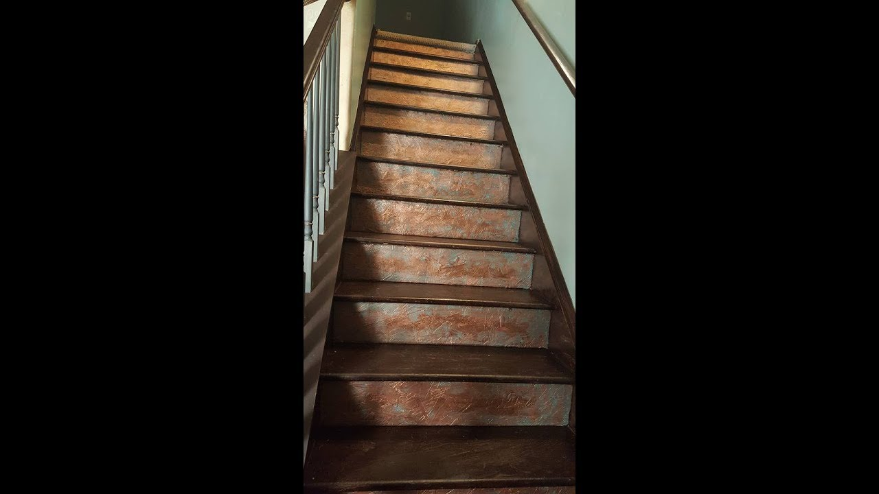 Stairwell Makeover Carpet Rip Out Patina Copper Risers