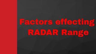 RADAR Range Parameters by Engineering Funda (RADAR Engineering, Microwave Engineering, RADAR)