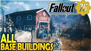 FALLOUT 76 GAMEPLAY - BASE BUILDING + *ALL* BUILDING Items / Defenses / Furtniture (100's of Them!)
