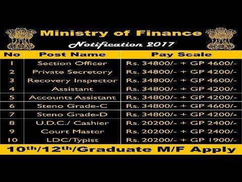 Recruitment in Ministry of Finance (वित्त मंत्रालय ) 2017, 13 पदों पर रिक्तियाँ
