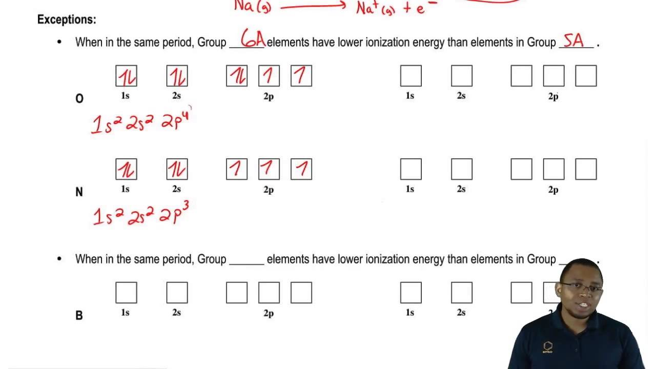 Exceptions To Ionization Energy In Groups 5a 6a Youtube