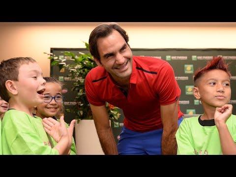 BNP Paribas Open 2018: Roger Federer Meets Some Mini Monets