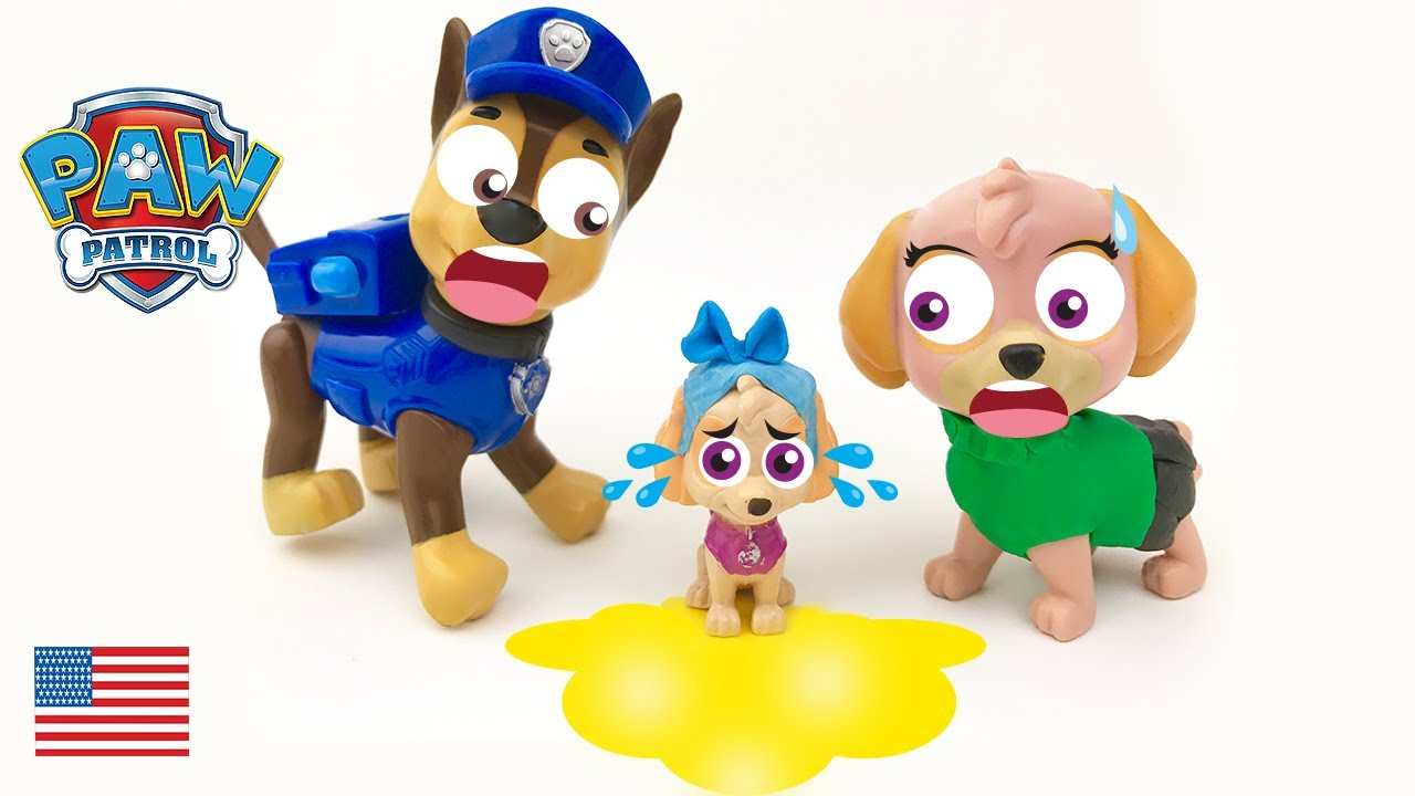 baby paw patrol chase and skye potty training the puppies full