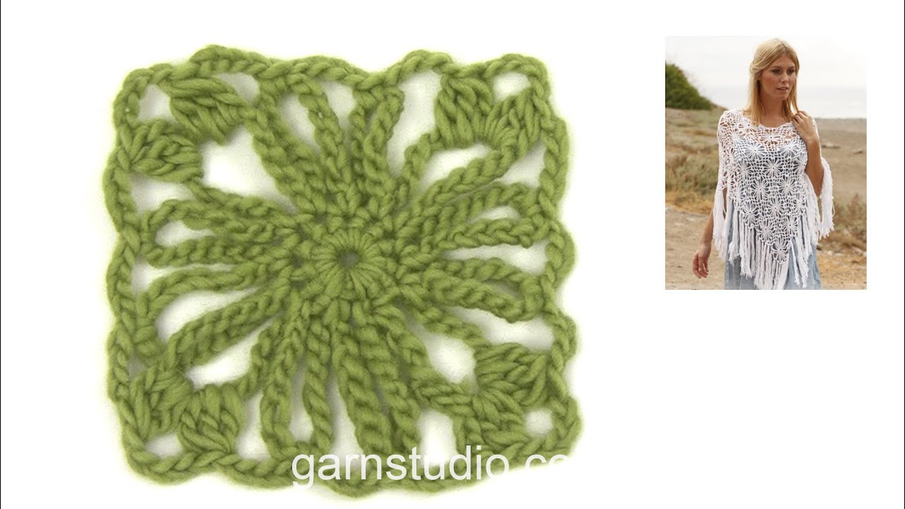 How to crochet the square in DROPS 137-16 - YouTube