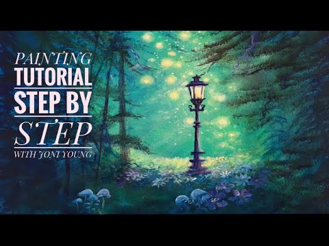 Acrylic Painting TUTORIAL / STEP BY STEP/ Lamppost In A Forest/ Plus a BIG Announcement!!