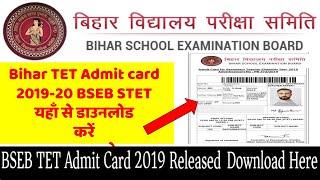 BSEB STET Admit Card 2019 Released Download Bihar TET Admit Card
