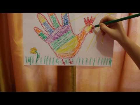 Рисуем  петуха из ладошки