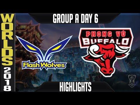 FW Vs PVB Highlights | Worlds 2018 Group A Day 6 | Flash Wolves(LMS) Vs Phong Vu Buffalo(VCS)