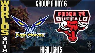 FW vs PVB Highlights   Worlds 2018 Group A Day 6   Flash Wolves(LMS) vs Phong Vu Buffalo(VCS)