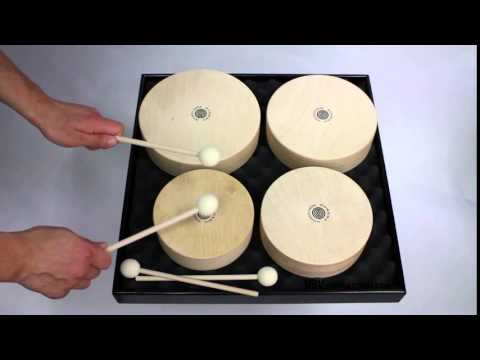 Set of 4 Wooden Toms + 4 Beaters - 3+ video